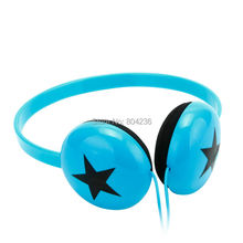 Rockpapa Boys Girls Kids Children Teens Stereo Adjustable Black Star Headphones Headset for Xiaomi iPhone iPod LeapPad / Blue