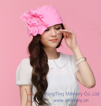 New Derby Wedding Organza Hats Church Women s Fashion Headwear Hats Sunhat Pink Flower font b