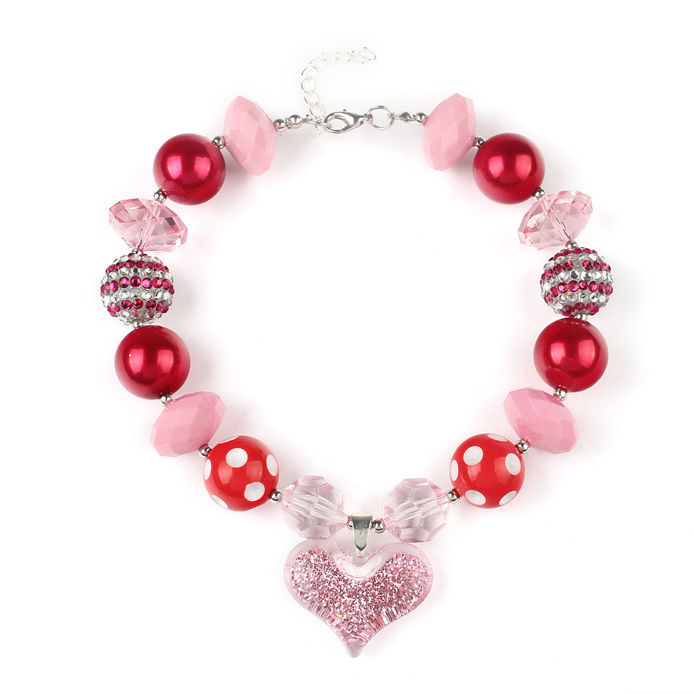 2pcs The new Bubble gum necklace 2016 fashion Pink peach heart children pendant beaded necklace in jewelry gift(China (Mainland))