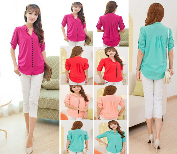 2014 new fashion chiffon women cardigans blouse plus size women clothing casual Candy colors shirt women tops AYPP 6551(China (Mainland))