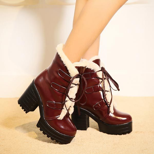 Autumn winter velvet short boots thick heels wild snow female shoes European American style ol Martin