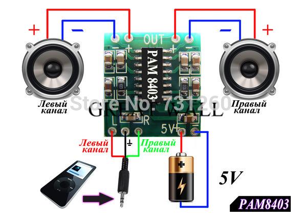 10PCS PAM8403 module Super digital amplifier board 2 * 3W Class D digital amplifier board efficient 2.5 to 5V USB power supply(China (Mainland))