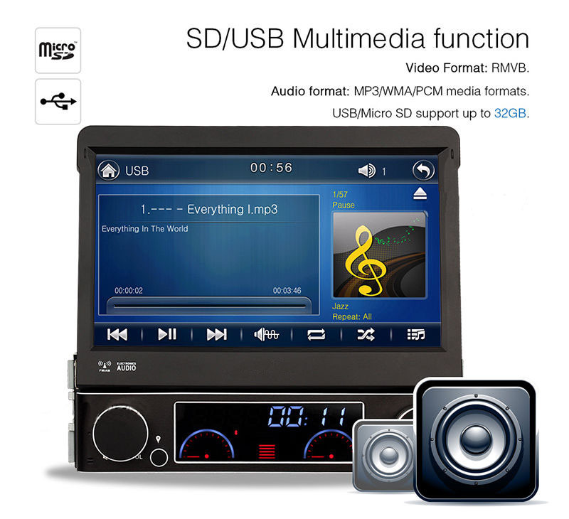 1 Din Autoradio Bluetooth Car Radio Automotivo DVD Player GPS System Touch Screen 7 Inch Support  Steering Wheel Control USB SD