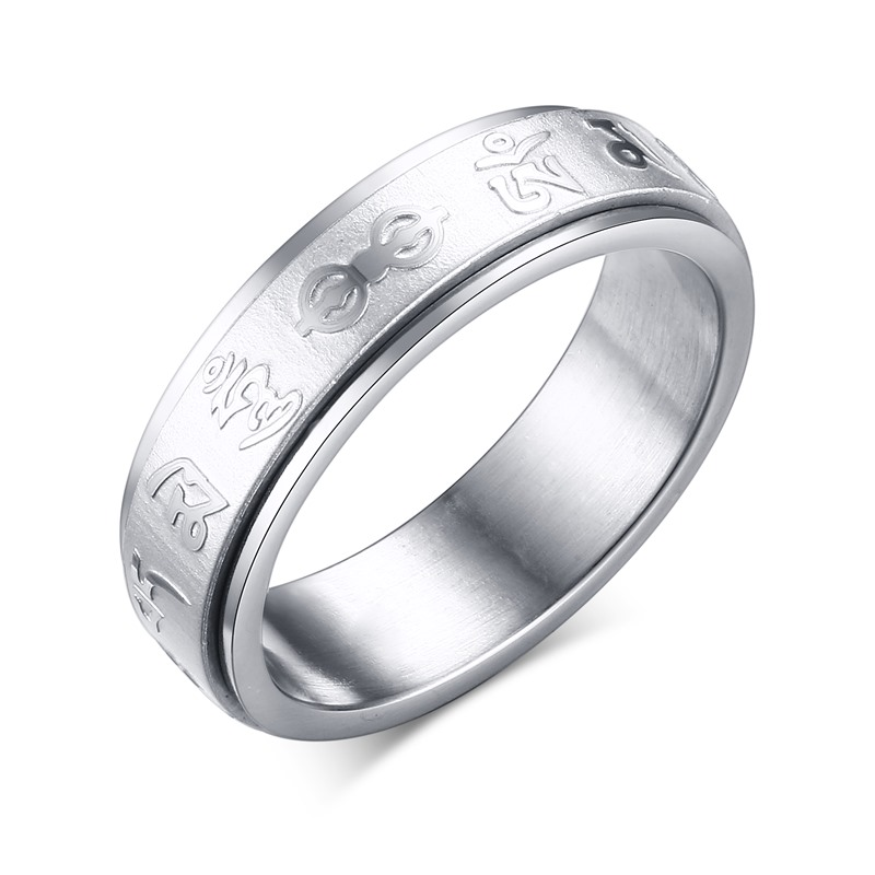 2016 New Can rotate SIX WORDS Buddhism stainless steel Personality men and women ring fashion jewelry R-147(China (Mainland))