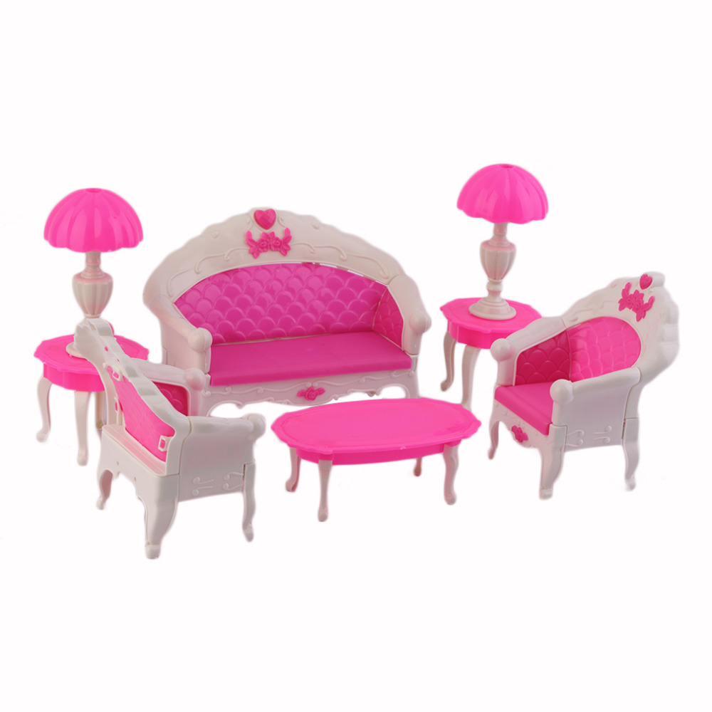 7Pcs Cute Cartoon Princess Kids Toys Dreamhouse Doll vintage Sofa Chair Couch Desk Lamp Furniture Set Disassembled Hot Selling(China (Mainland))