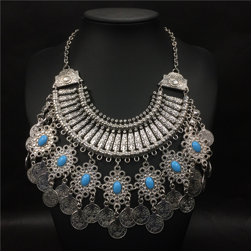 fashion accesories for women 2016 vintage collier ethnique maxi necklace silver coin nepal pendant indian tribal jewelry collar(China (Mainland))