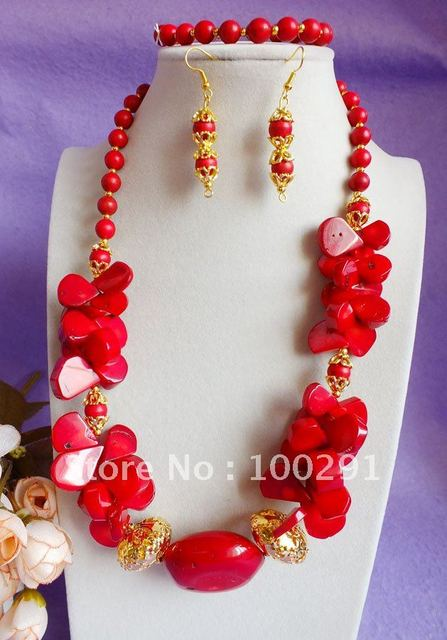 2015// Free ship!!!  Amazing red leaf tube coral charm coral necklace bracelet earring set