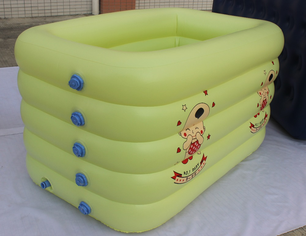 Square kid bathtub baby swimming pool with pump gift cartoon bucket inflatable mattress pvc swimming pool 140*90*75CM(China (Mainland))