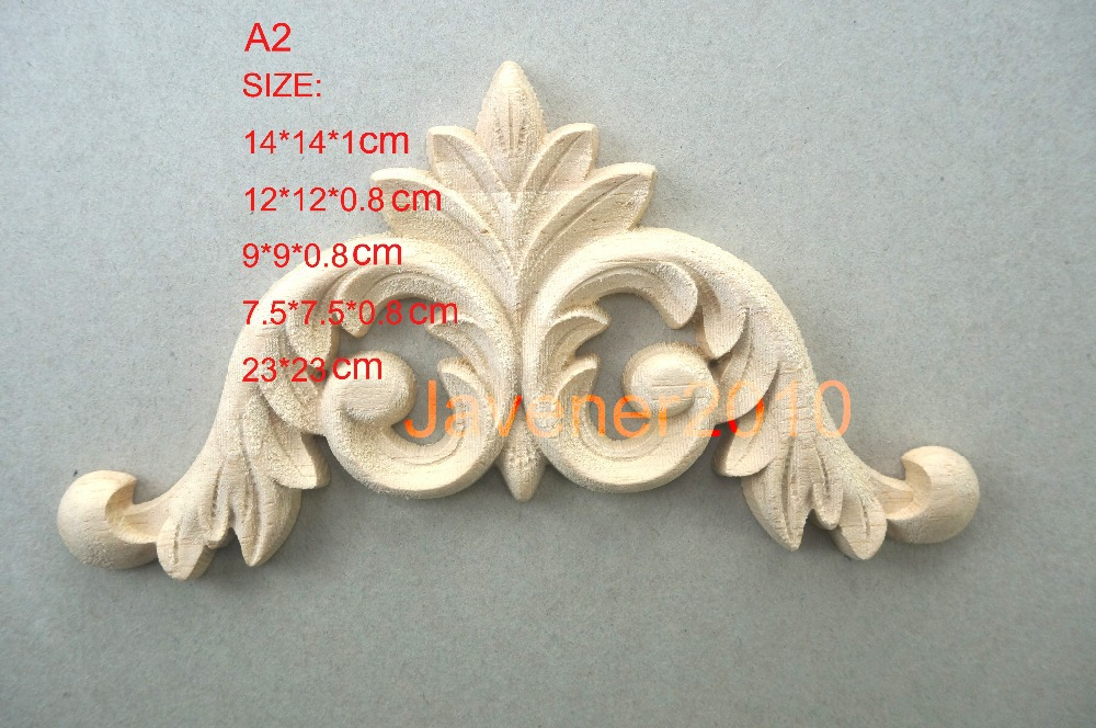 A2- 9*9*0.8cm Rubber Wood Carved Carving Corner Onlay Applique Architectural Cabinet Furniture Door Unpainted Wall(China (Mainland))