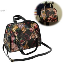 Women's Girl Floral Flower Pattern Printted PU Leather Briefcase Handbag Body Cross Tote Messenger Shoulder Bag Clutch Purse dy