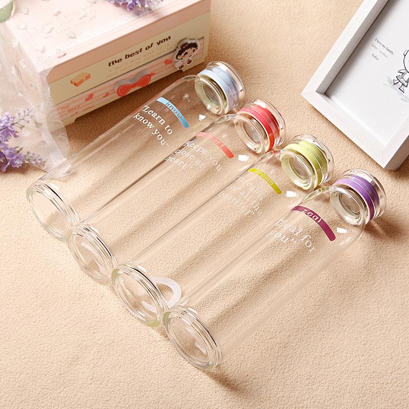 New Korea Fashion High Temperature Resistant Glass BPA Free Borosilicate Glass Cup Cartoon Creative Fashion Cover Water Bottles(China (Mainland))