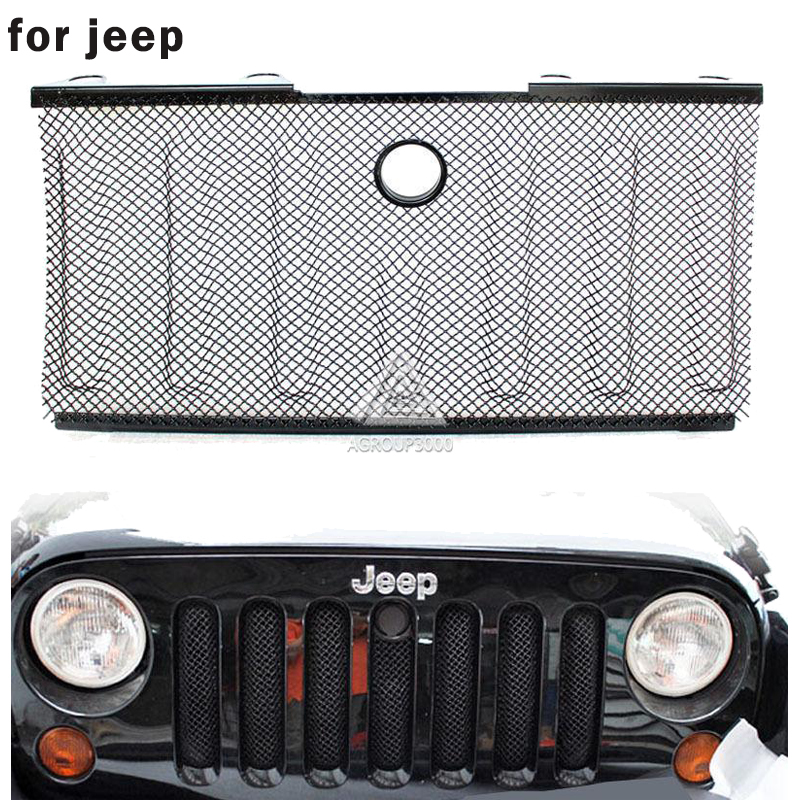 Black Stainless Steel Radiator Protector Front 3D  Grille Mesh Grill Insert With Lock Hole For Jeep Wrangler JK 2007~2015 <br>