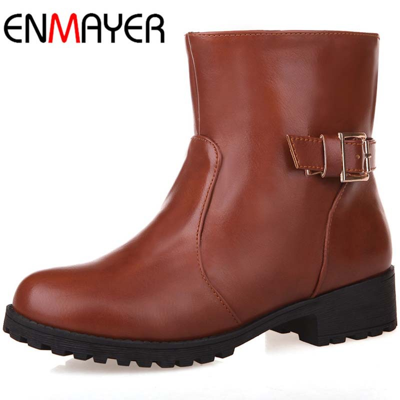 ENMAYER New Women Boots Winter Low High Heels Buckle Motorcycle Shoes Boots Warm Fur Round Toe Platform Shoes Knight Boots<br><br>Aliexpress
