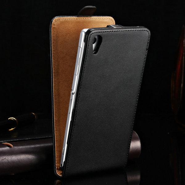 Luxury Genuine Leather Flip Case for SONY Xperia Z3 D6643 D6653 D6603 Cover Back Cases Black Brown White(China (Mainland))