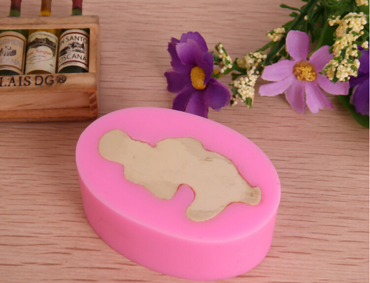 Sticking Cake Decorations On Fondant : Free shipping 1PCS Silicone Baby 3D Mold Cookware Dining ...