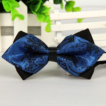 pointed 12cm*6cm men self tie bow ties 2014 Blue jacquard silk bowties luxury gravatas borboleta bulk lot Wholesale