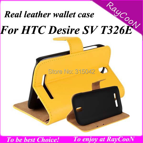 10pcs High quality Real leather wallet case for HTC desire SV, leather protective cover For HTC t326e,pp bag packing,mix color