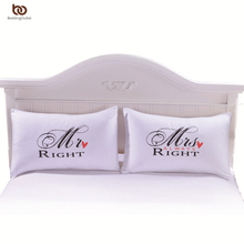 One Pair MR and MRS Pillowcases Personalised Pillow Cases for Him or Her Romantic Anniversary Wedding Valentine's Gift(China (Mainland))