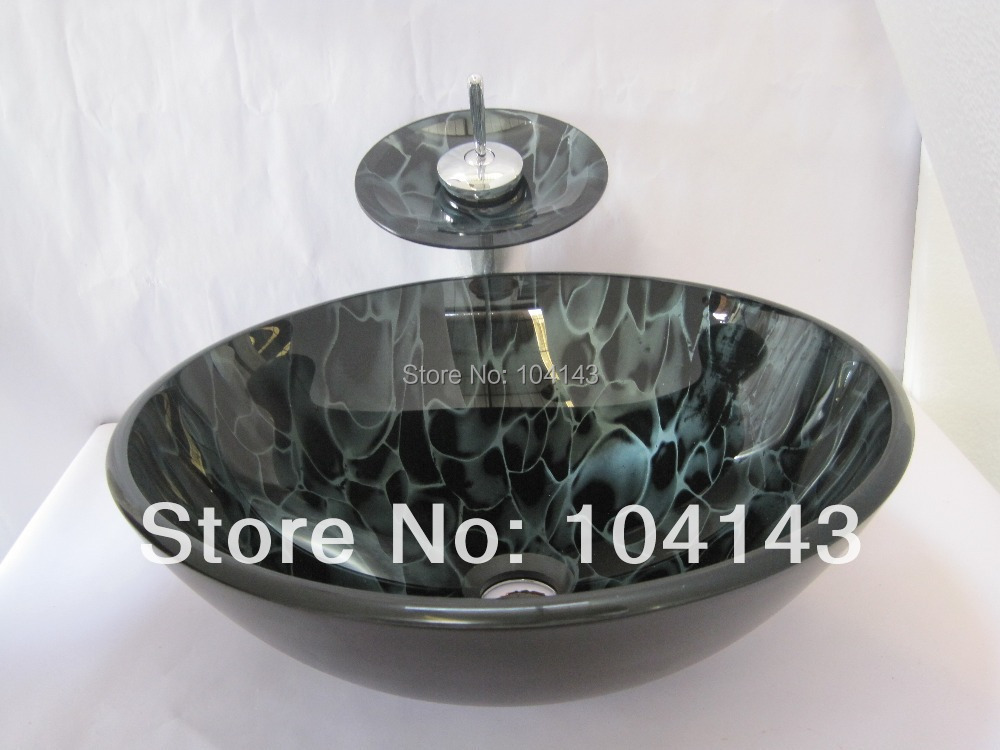 Color Ribbon Pattern Chrome Faucet Round KItchen Construction Real Estate Bath Fixtures Sink Vessel Basin Glass