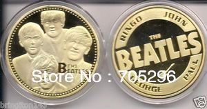 THE BEATLES 24KT GOLD MEMORABILIA COLLECTIBLE COIN,wholesale 50pcs/lot ROCK BAND SOUVENIR COLLECTIBLE PROOF COIN(China (Mainland))