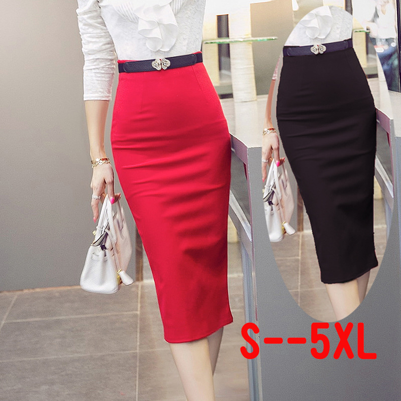 High Waisted Women Pencil Skirt Elastic Bandage Black Red Midi Length Slim Work Wear Skirts Plus Size S - XL(China (Mainland))