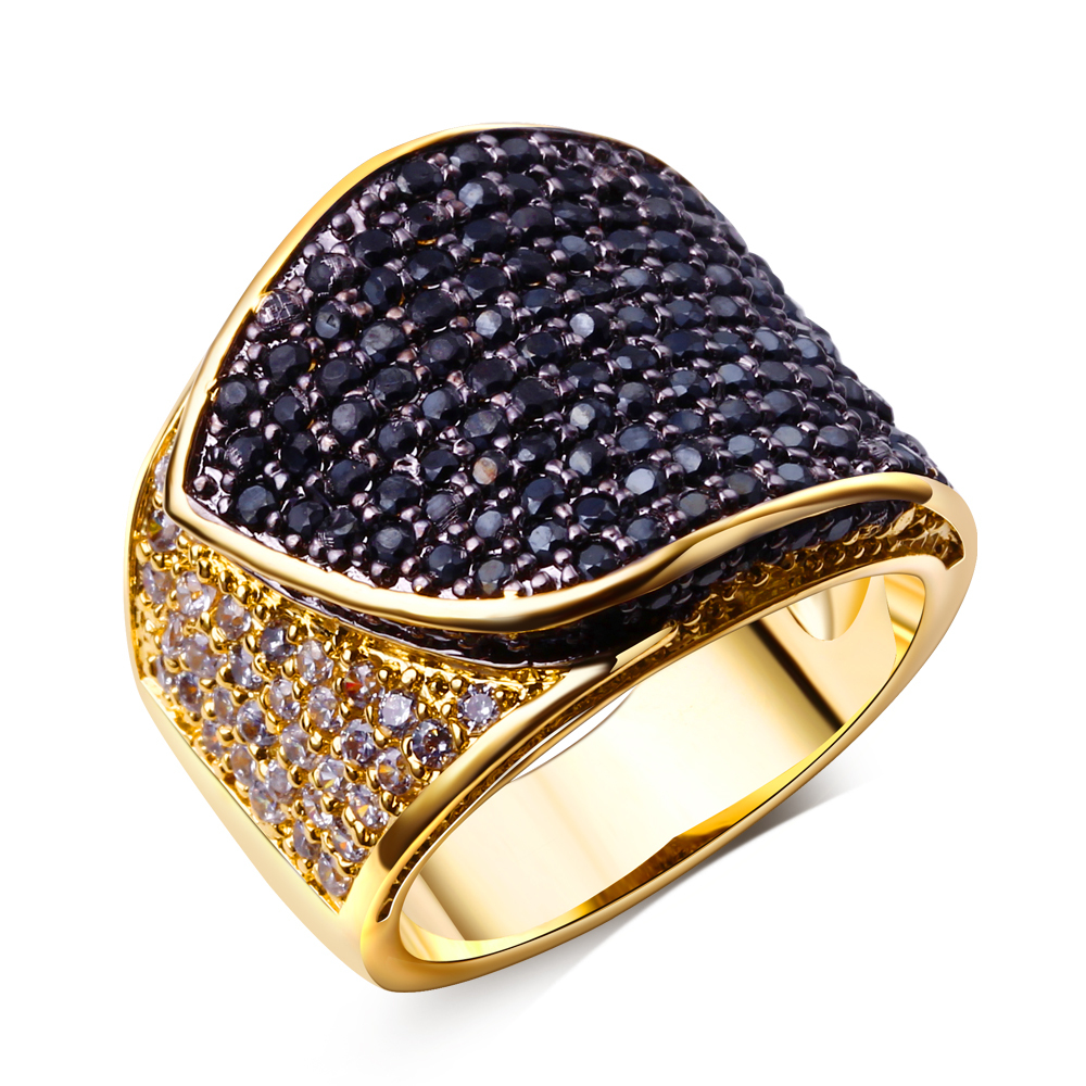 Sapphire jewelry fine jewelry High quality designer rings jewelry Black cz ring Gold plate ring Jewelry supplies(China (Mainland))