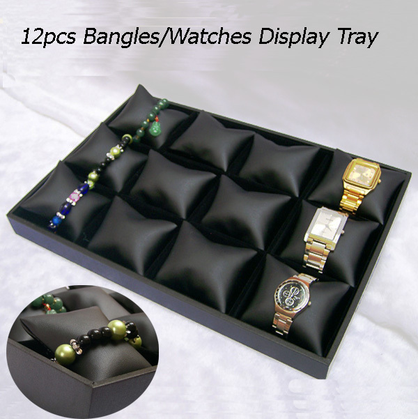 Free shipping Black velvet 12Cells Jewelry Tray with Black Leather Pillow Display Jewelry Bracelet Watch Display Box/Case/Tray<br><br>Aliexpress