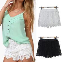 Hot Free Shipping 2015 European Fashion Spring Summer Women Shorts Elastic High Waist Lace Shorts Casual