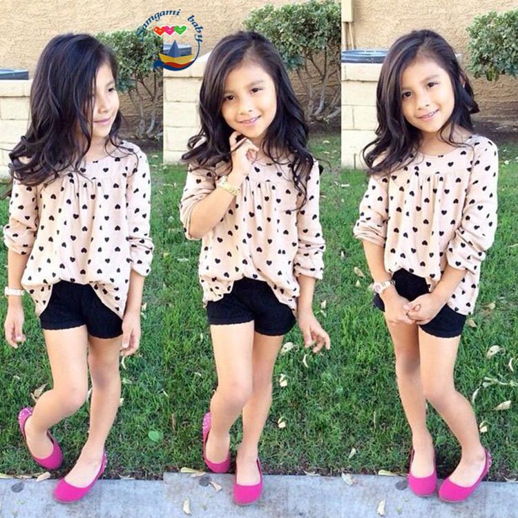 6sets/lot toddler girls clothing sets summer F1598 heart (shirt+pants) baby kids set 0520 sylvia it(China (Mainland))