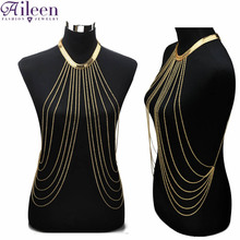 Gold  Sexy Body Chain Women Necklaces&Pendants Tassel  Alloy Punk Long  Necklace 2015 New Designer Female Fashion Jewelry(China (Mainland))