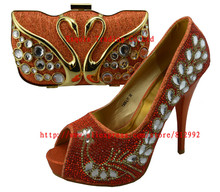New arrival high quality italian shoes and bag set in orange,high heel women pumps for wedding/party, 1308-L11
