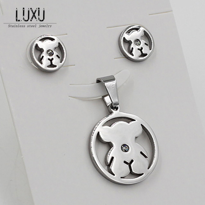 New Arrivals Hot Selling! Lovely Little Bear Necklaces And Earrings Jewelry Sets,316 Stainless Steel,Free Shipping(China (Mainland))