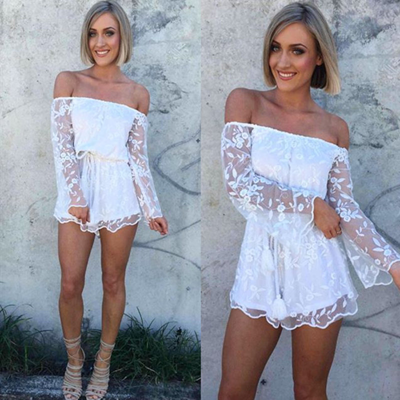 2016 women sexy Crochet short rompers slash neck flare sleeve lace smock Playsuits Bodysuits women jumpsuits tops drop shipping(China (Mainland))