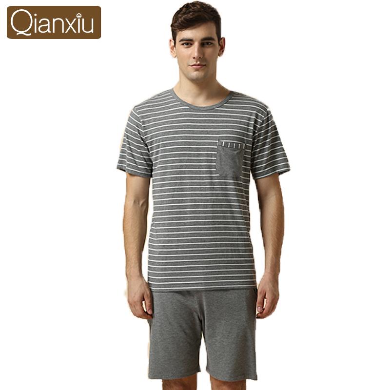 Qianxiu Casual Pajamas Men Nighty Pajamas sets Knitted Modal Casual Homedress For couple(China (Mainland))