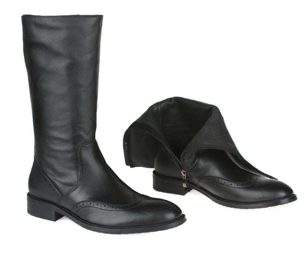 2016 top quality knee high black mens boots genuine