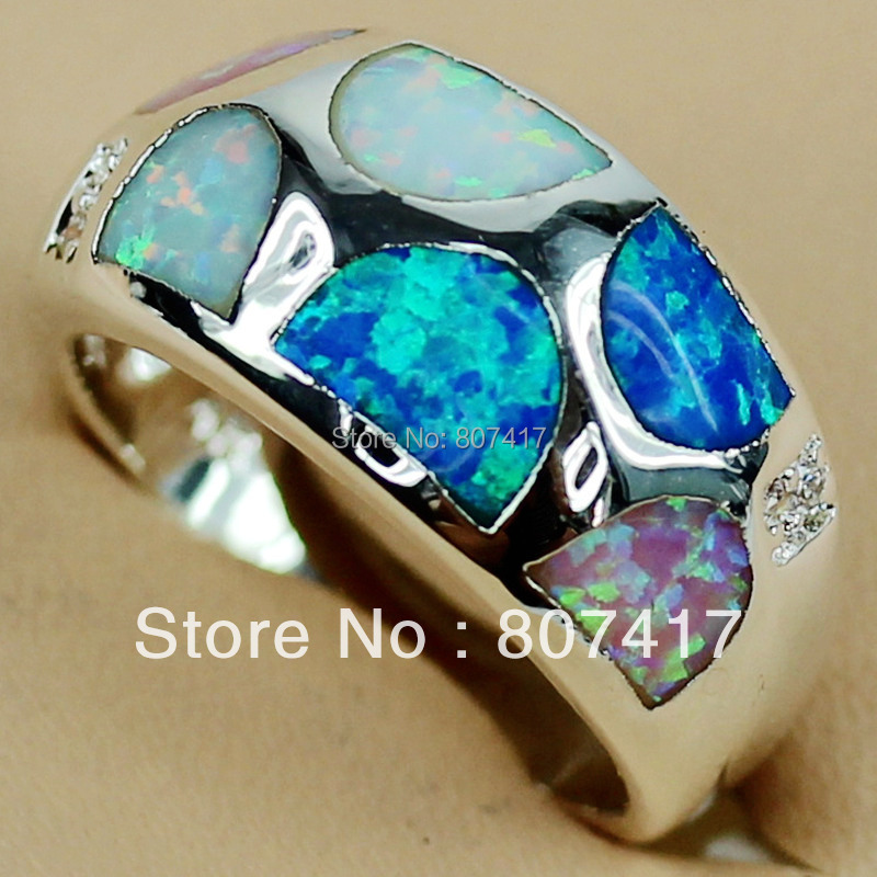 Romantic hot sell blue pink white mix opal Beautiful Silver Plated Promotion Hot Vintage Rock ring fashion R3572 sz #6 7 8 9(China (Mainland))