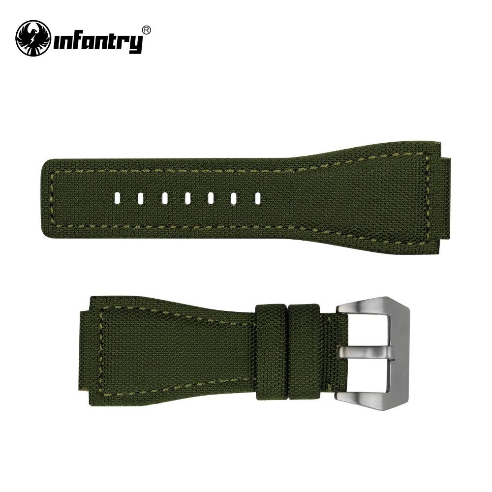 Infantry 24 mm Watch Strap Green Steel Brush Silver Bukle Soft Wristwatch Band for Men Waterproof Free Shipping(Hong Kong)