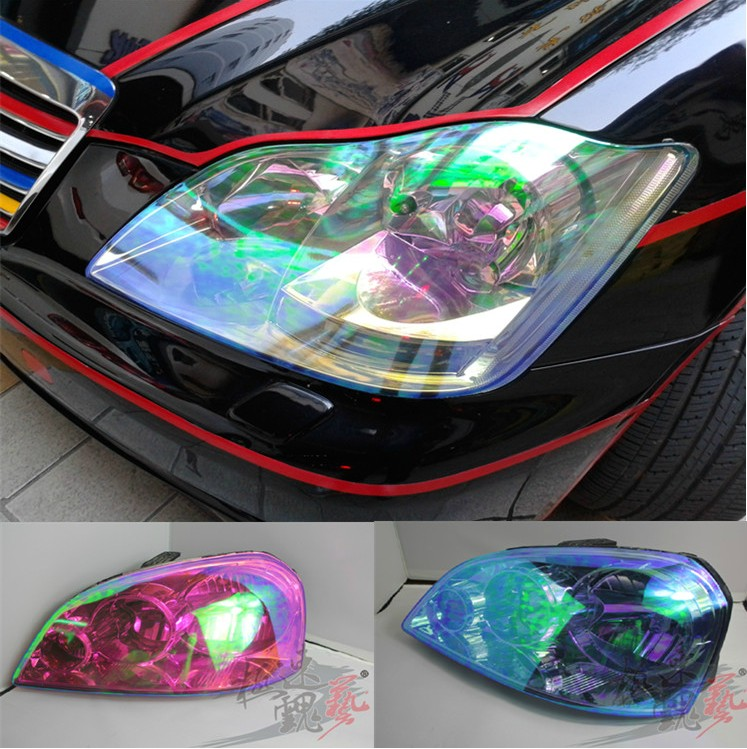100*30cm Shiny Chameleon Auto Car Styling headlights Taillights Translucent film lights Turned Change Color Car film Stickers(China (Mainland))