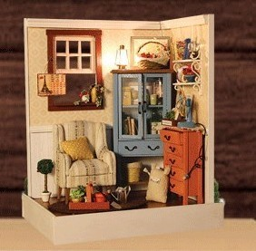 Dawnlight diy handmade small model dollhouse dust cover with light diy wood dollhouse(China (Mainland))