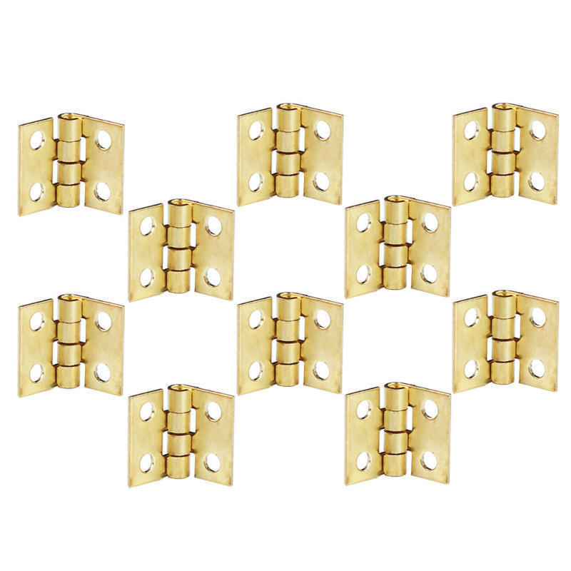 10 Pcs Mini Small Hinges for Dollhouse Miniature Cabinet Cupboard Furniture Drawer Butt Hinge copper With Screws<br><br>Aliexpress