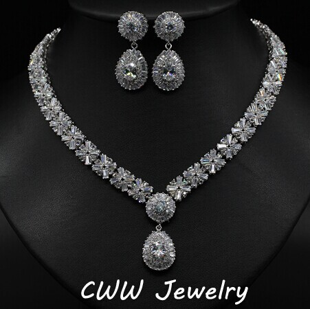 Luxury White Gold Plated Elegant Shape Bridal CZ Diamond Necklace and Earrings Big Wedding Jewelry Sets For Brides (T103)