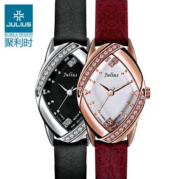 Julius Lady Wrist Watch Quartz Hours Best Women's Fashion Dress Korea Bracelet Multi-color Leather CZ Rhinestone Gift JA660