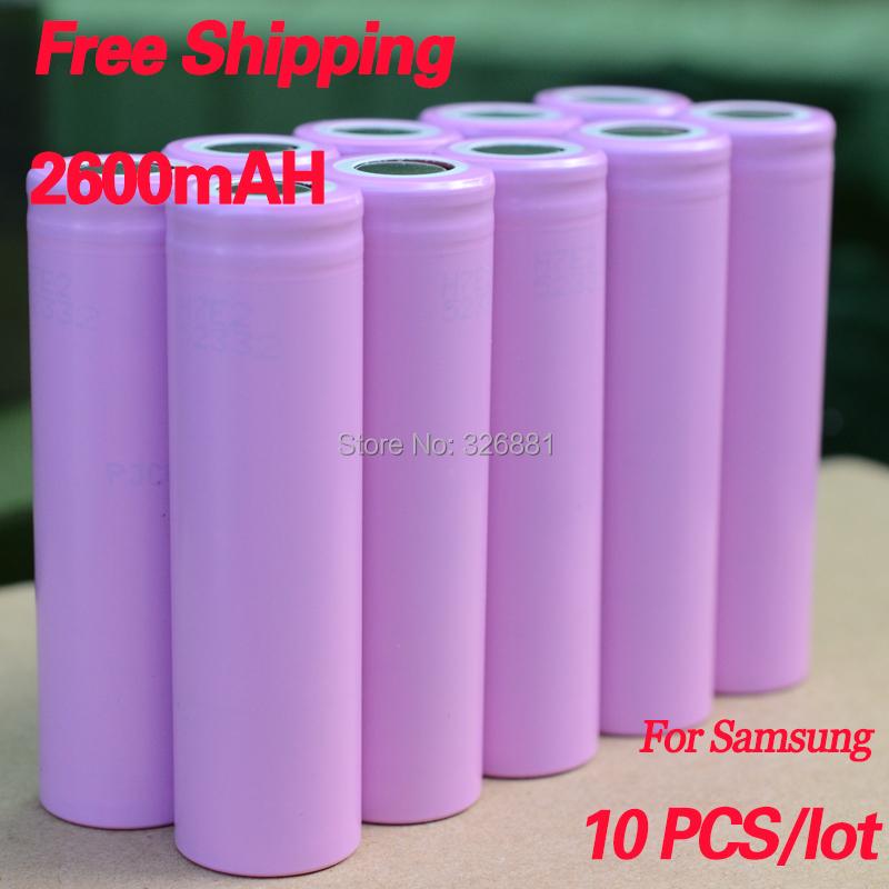 10pcs lot 2600mAh Original 18650 3 7V For Samsung batteries rechargeable Battery ICR18650 2600F safe batteries