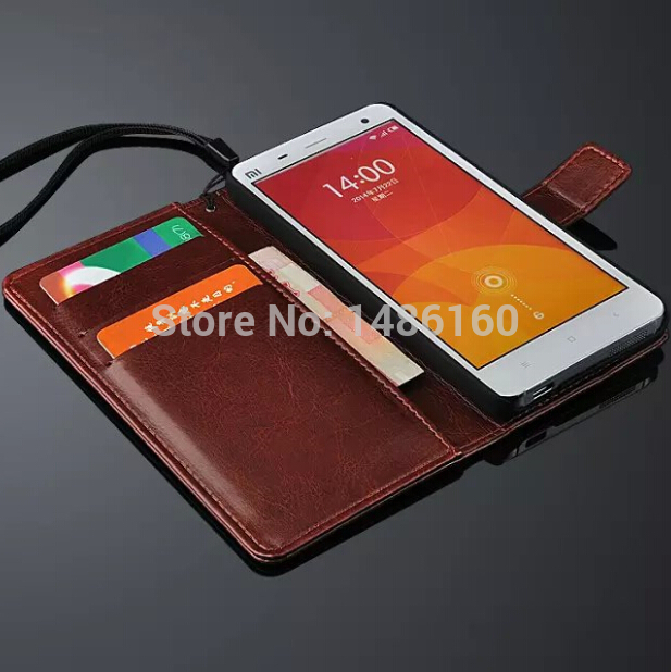 Free shipping Xiaomi Mi4 Leather Case Ultra Thin and High Quality Cover Function For Xiaomi Mi 4 m4 cell phone cases flip shell(China (Mainland))