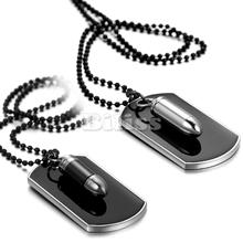 Fashion Men Jewelry Army Style Bullet Dog Tag Pendant Mens Necklace Black Silver Color with 27 inch Chain 2 Styles Selectable(China (Mainland))