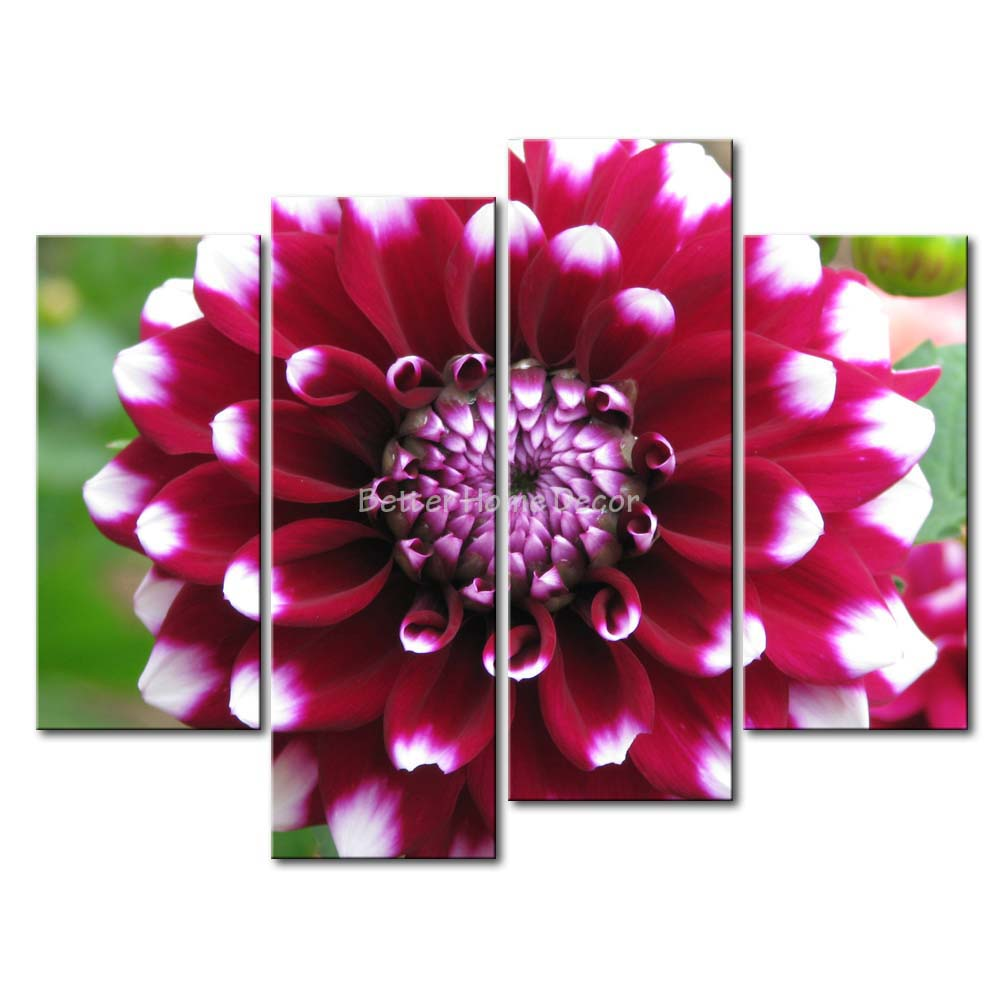 3 Piece Red Wall Art Painting Red Dahlia Picture Print On Canvas Flower 4 5 The Picture Decor Oil For Home Decoration Prints(China (Mainland))