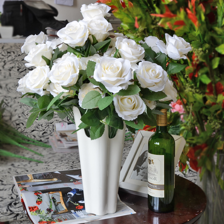 50 pcs lot 12 flower head bunch large rose bouquet - Flowers for dining room table ...