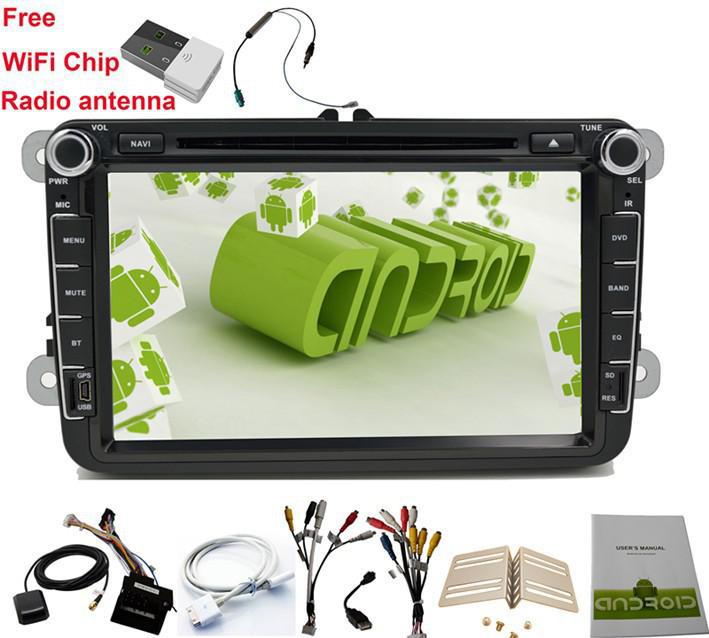 2 Din 8 inch Quad core Android vw car dvd for Polo Jetta Tiguan passat b6 B5 cc skoda fabia mirror link wifi Radio CD in dash(China (Mainland))
