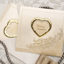 Gold Classic Luxury Folded With Heart Cutout Wedding Invitations