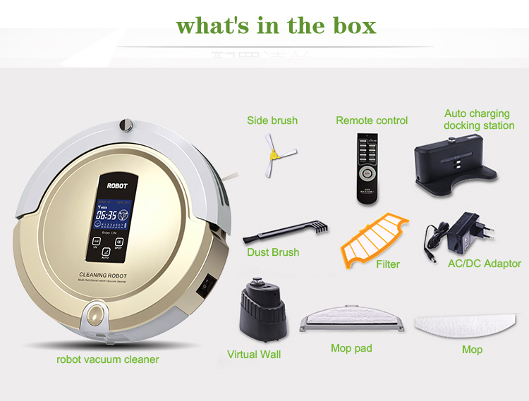 4 In 1 Multifunction Auto Sweep Vacuum Robot Vacuum Cleaner Mop Sterilize With LCD Touch Screen Virtual Wall and Self Charge(China (Mainland))